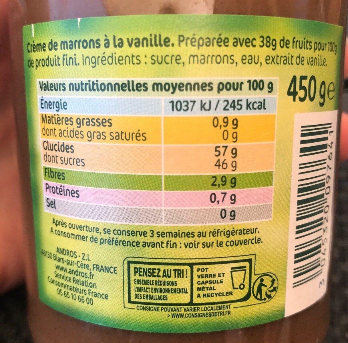 Crème de marron - Informations nutritionnelles - fr