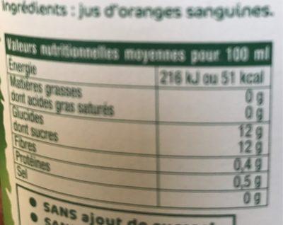 100% pur jus d'Oranges sanguines pressées - Nutrition facts