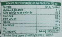 Jus de pommes pressées - Informations nutritionnelles