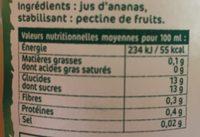 Jus d'Ananas pressés sans sucres ajoutés - Nährwertangaben