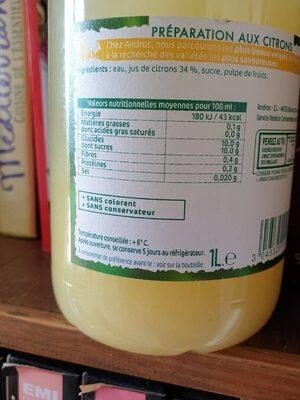 Preparation citrons pressés - Nutrition facts - fr