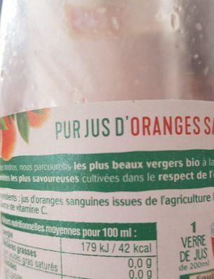 100% pur jus d'Oranges sanguines BIO pressées - Ingrédients
