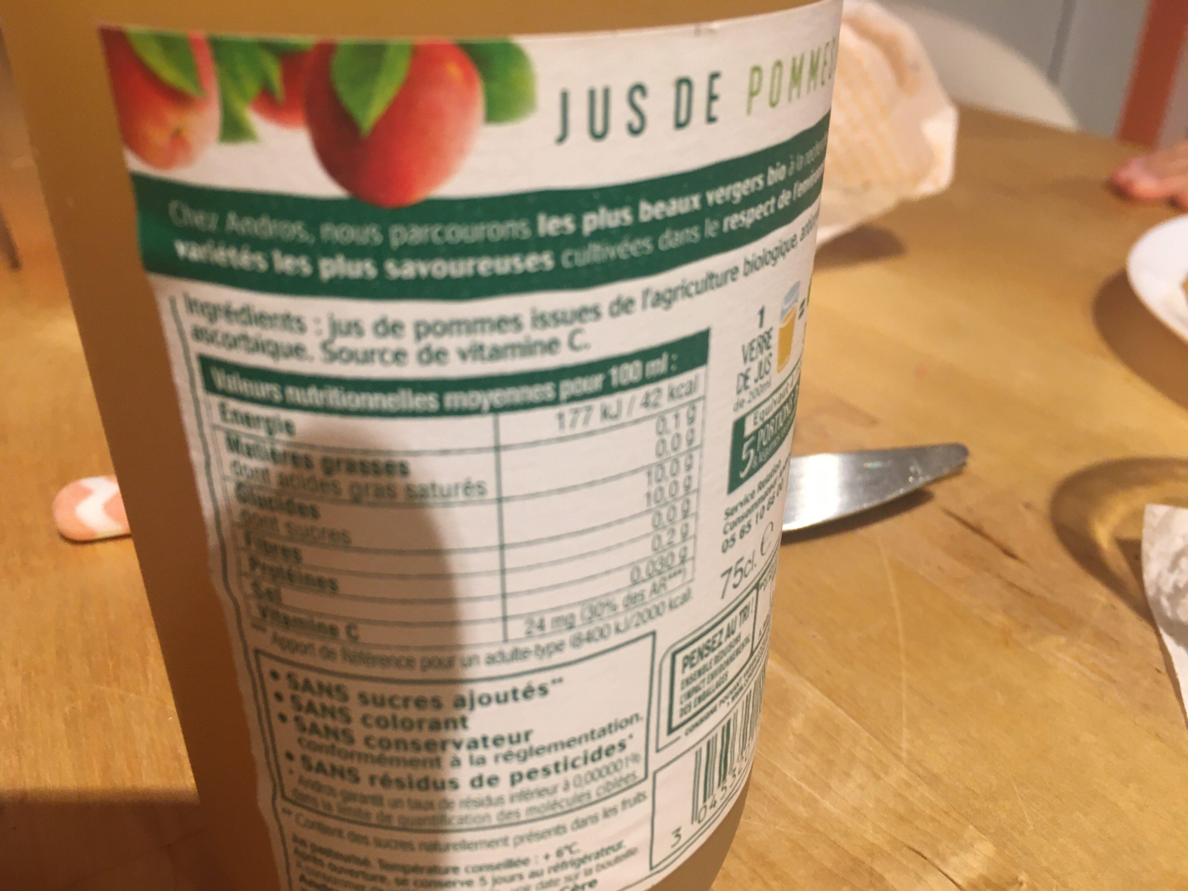 Jus de Pommes pressées Bio - Nutrition facts