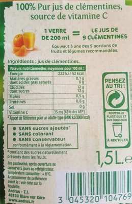 Jus de clémentines - Ingredienti - fr
