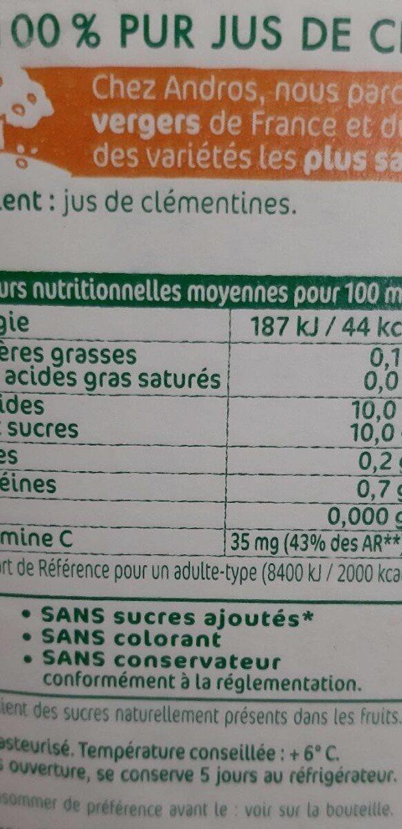Jus de clémentines - Valori nutrizionali - fr