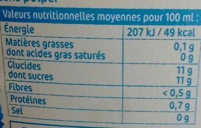100% pur jus d'Oranges pressés sans pulpe - Voedigswaarden