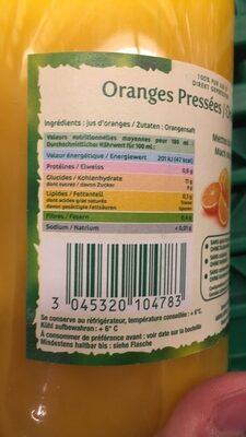 Oranges Pressées - Voedigswaarden