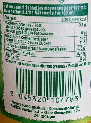 Oranges Pressées - Voedingswaarden - fr