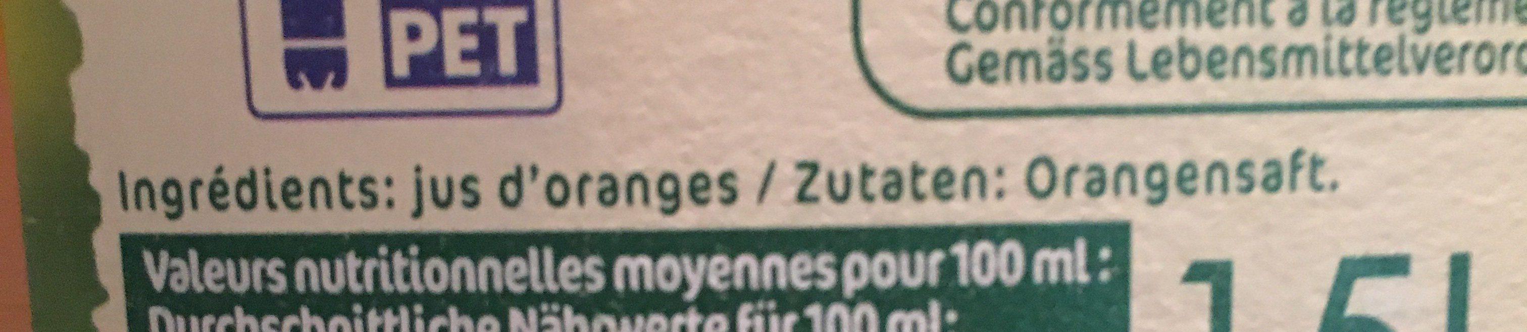 Pur jus pasteurisé orange pressées - Ingredients - fr