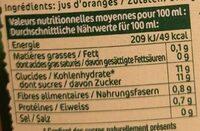 Pur jus pasteurisé orange pressées - Nutrition facts - fr