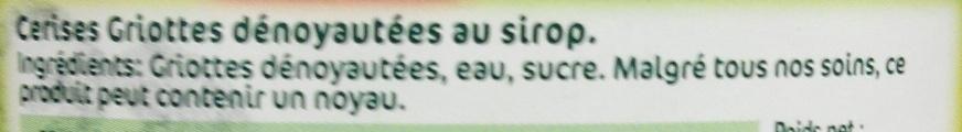 Fruits au sirop griottes dénoyautées - Ingrédients - fr