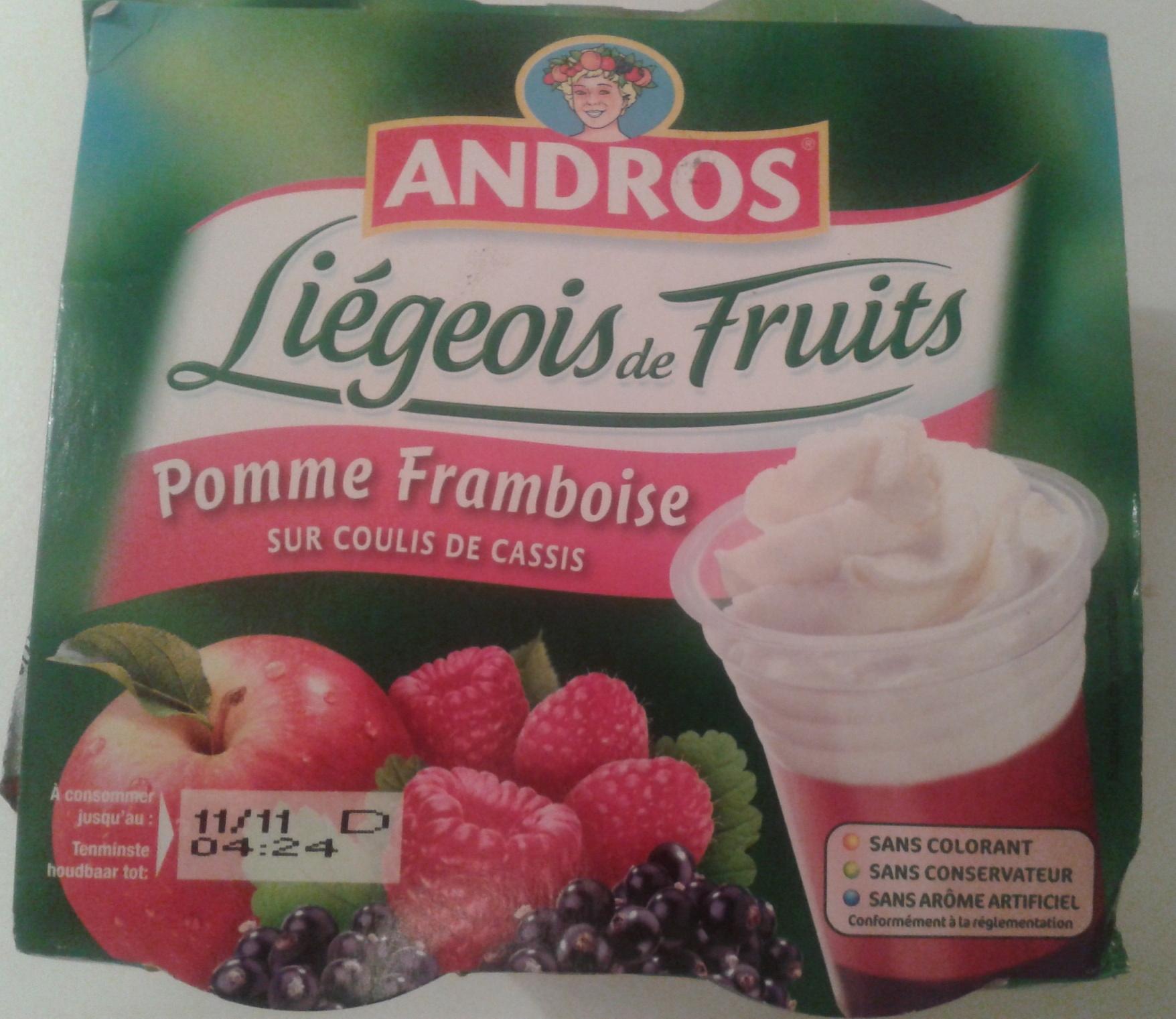 Liégeois de fruits Pomme-Framboise sur coulis de Cassis - Product