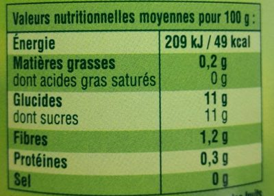 Compote Pomme Nature - Informations nutritionnelles