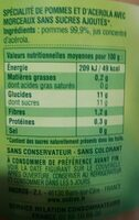 Compote Pomme Nature - Nutrition facts - fr