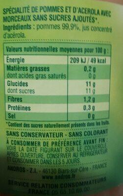 Compote Pomme Nature - Informazioni nutrizionali - fr
