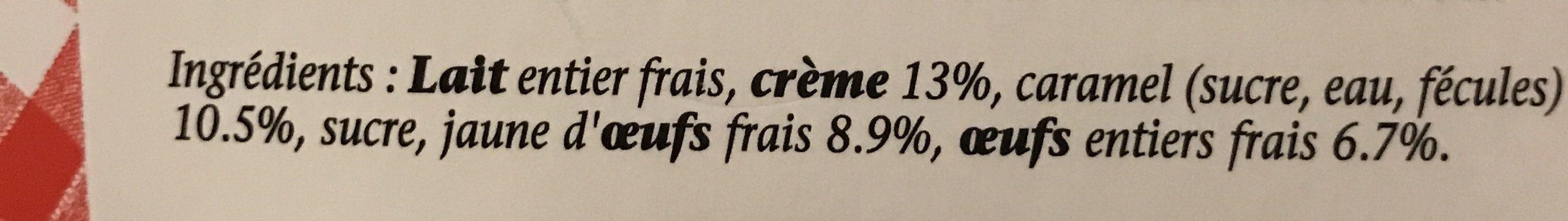 Crème caramel aux œufs frais - Ingrédients - fr