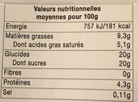 Crème caramel aux œufs frais - Informations nutritionnelles - fr