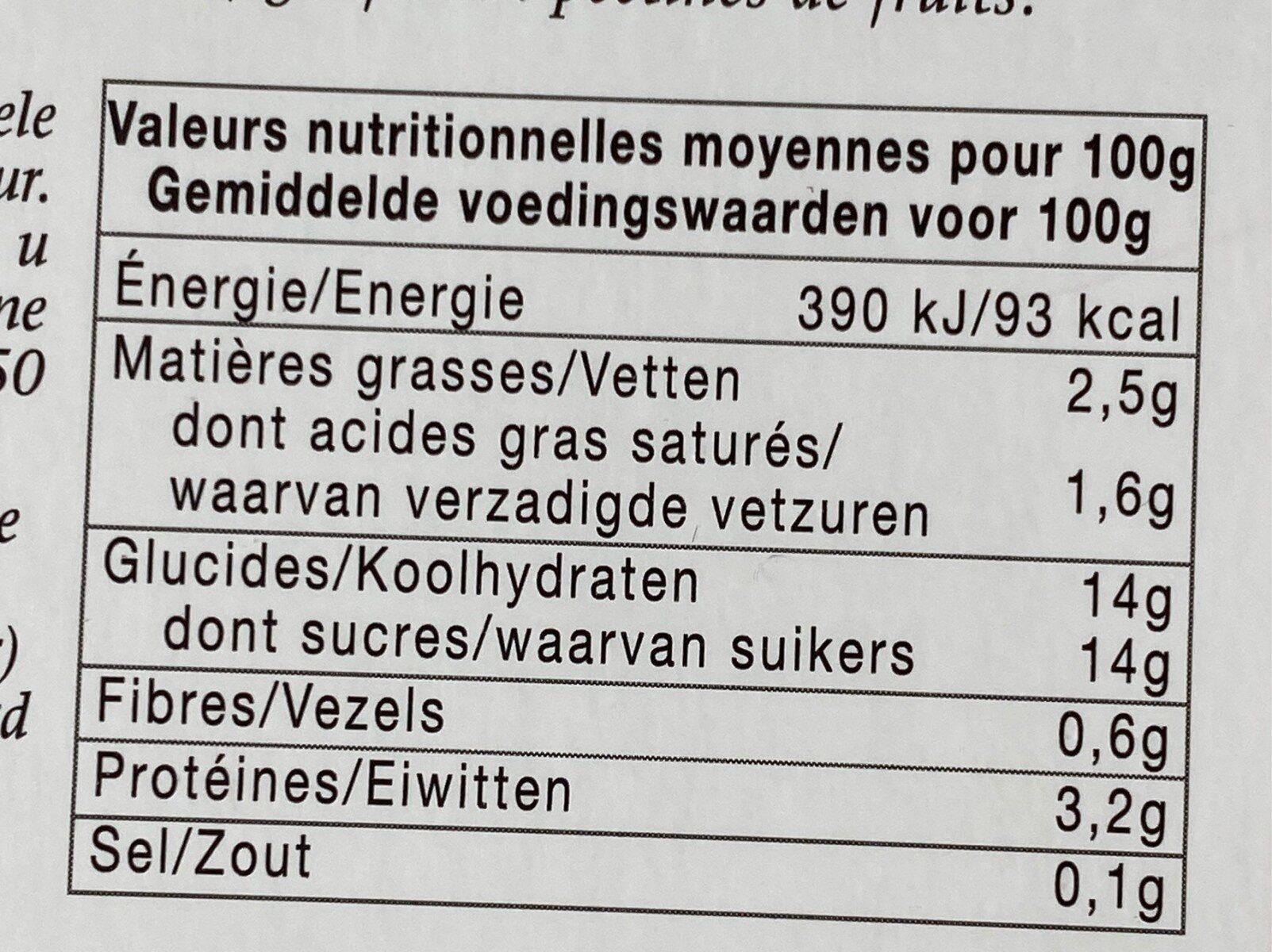 Yaourt a la confiture rhubarbe - Informations nutritionnelles - fr