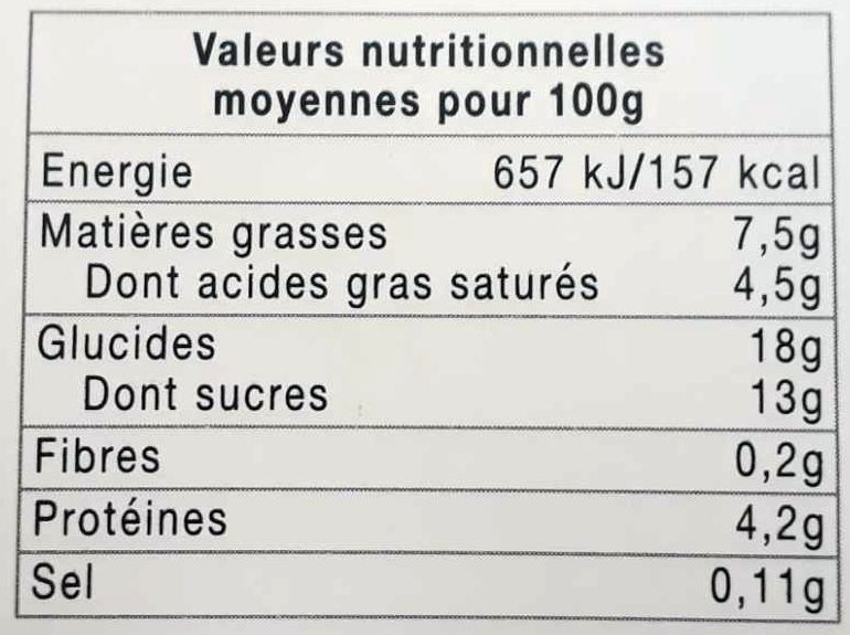 Semoule au lait à la vanille naturelle - Voedingswaarden