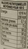 Confiture 4 fruits - Informations nutritionnelles