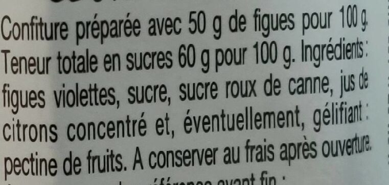 Confiture figues - Ingredienti - fr