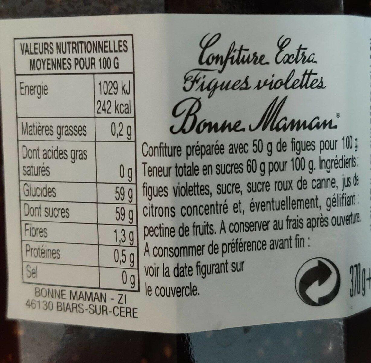 Confiture figues - Valori nutrizionali - fr