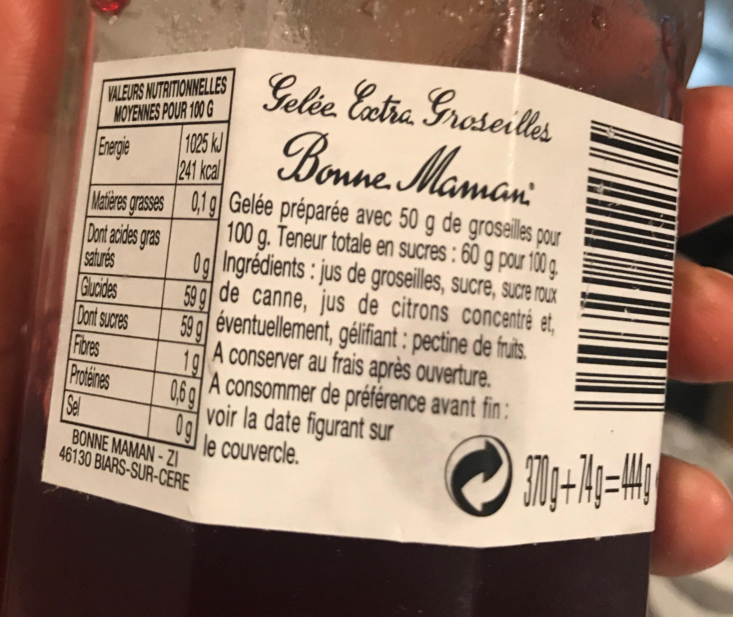 Gelée Groseilles - Ingredients