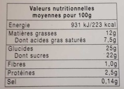 Fraisier - Informations nutritionnelles - fr