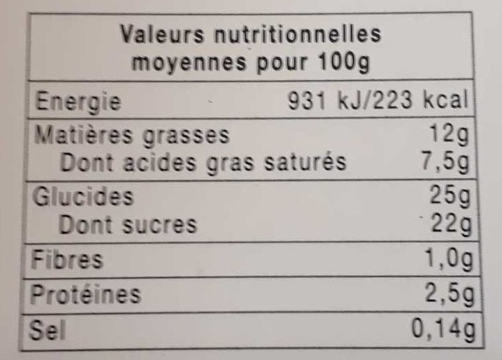Fraisier - Nutrition facts