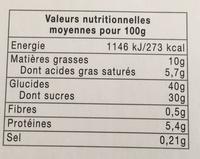 Tarte au citron meringuée - Informations nutritionnelles