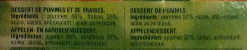 Compotes Pomme Fraise et Pomme Nature - Ingrédients - fr