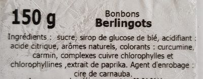 Bonbons Berlingots - Ingredients - fr