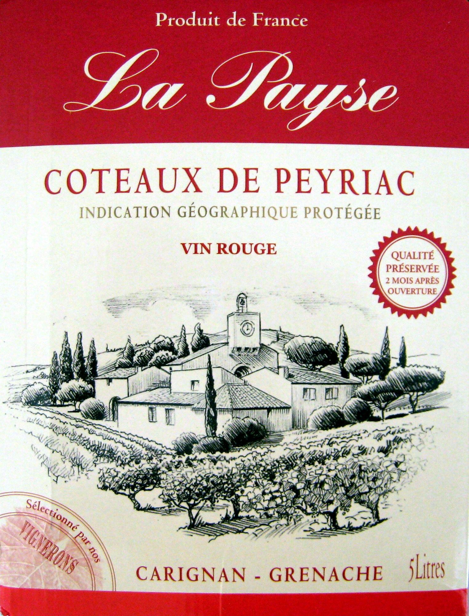 Vin rouge Carignan-Grenache La Payse Côteaux de Peyriac 5L - Product