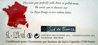 Vin rouge Carignan-Grenache La Payse Côteaux de Peyriac 5L - Ingrediënten