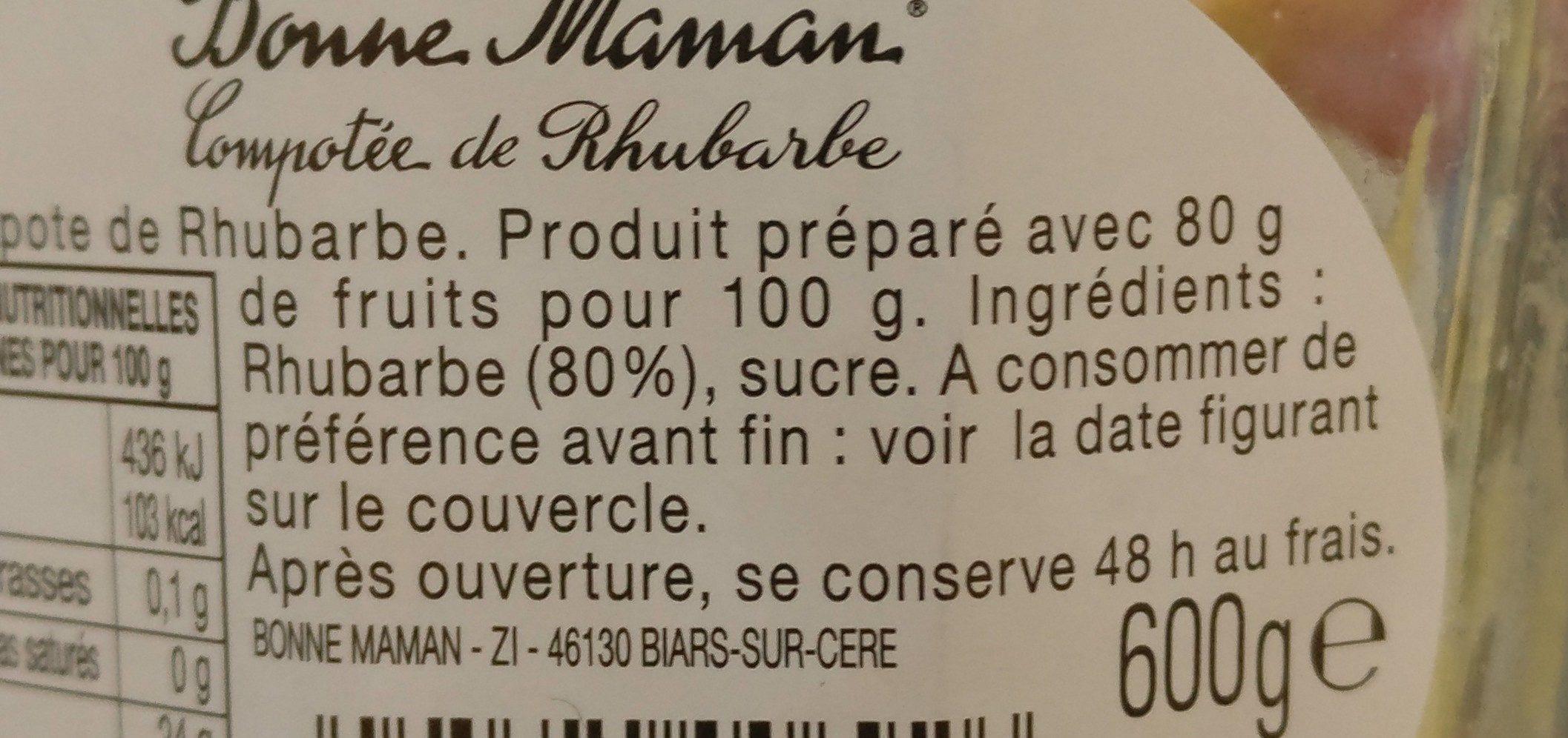 Compote de rhubarbe - Ingredients - fr