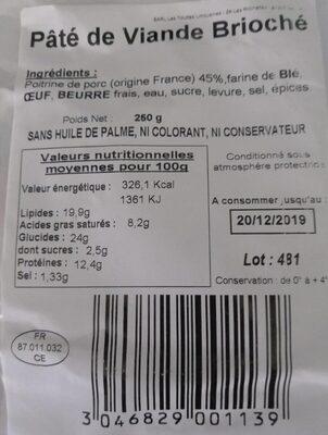 Brioché pâté de viande - Voedingswaarden - fr