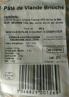 Pâté viande brioché - Ingrediënten - fr