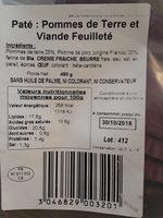 Feuilleté pommes de terre et viande - Ingrediënten - fr