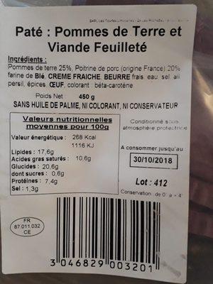 Feuilleté pommes de terre et viande - Ingrediënten