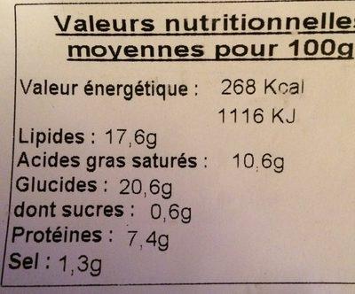 Feuilleté pommes de terre et viande - Voedingswaarden
