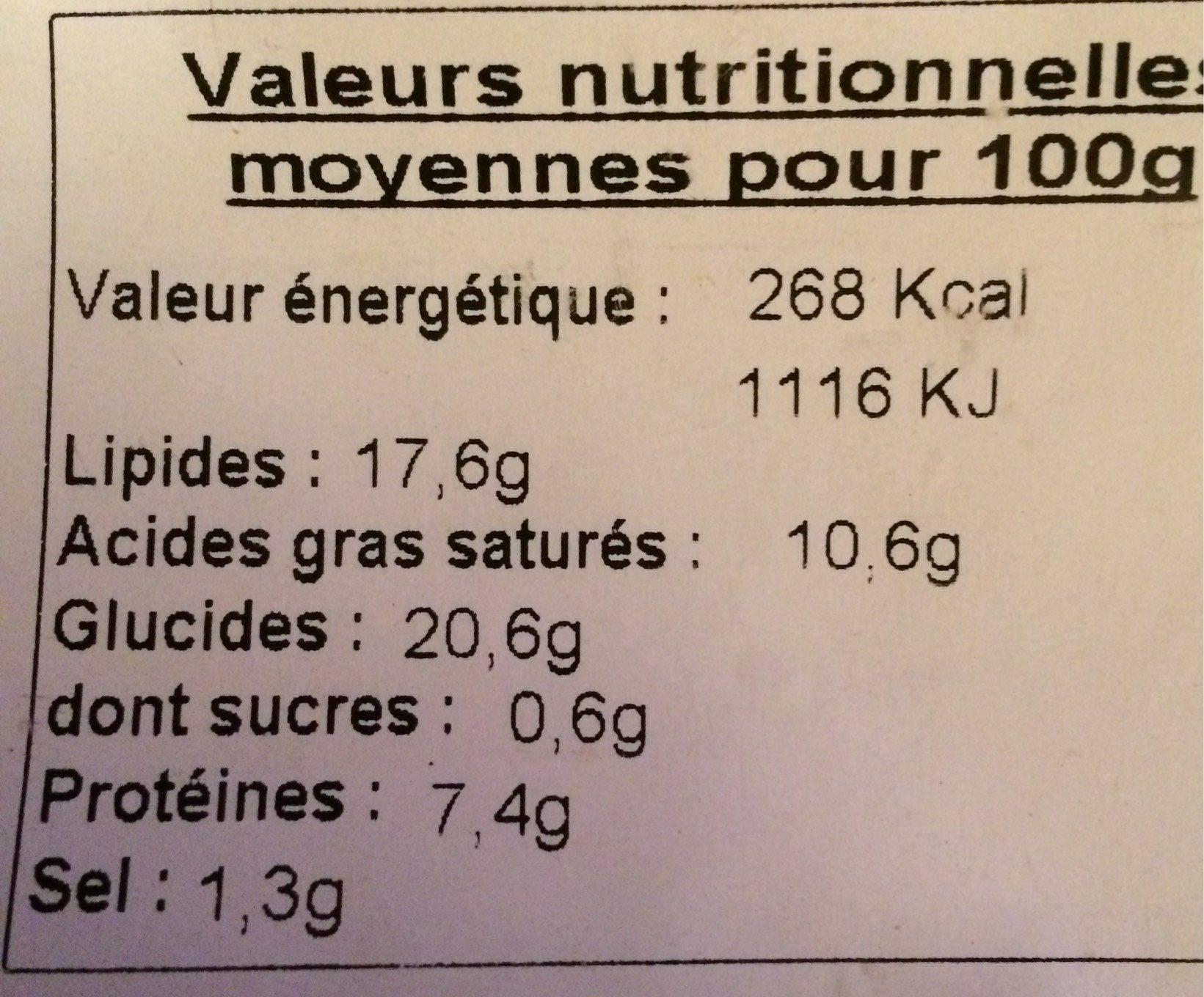 Feuilleté pommes de terre et viande - Voedingswaarden - fr