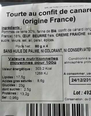 Tourte au confit de canard - Product - fr