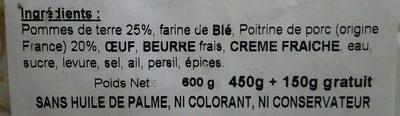 Paté : Pommes de terre et Viande haché Brioché - Ingrediënten - fr