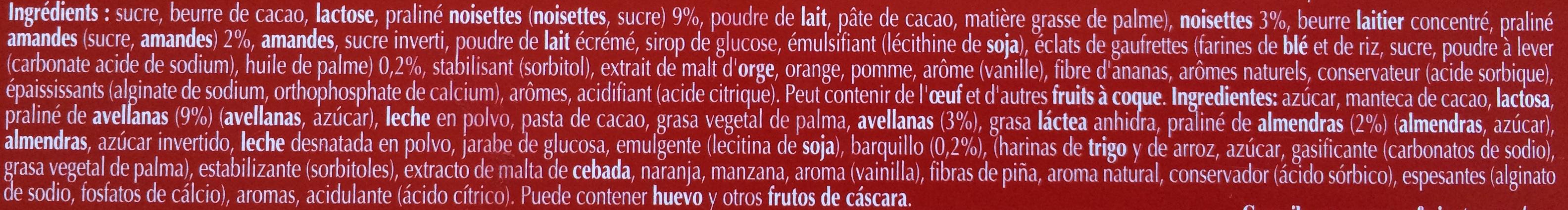 Lindt Champs-Élysées Lait - Ingredients - fr