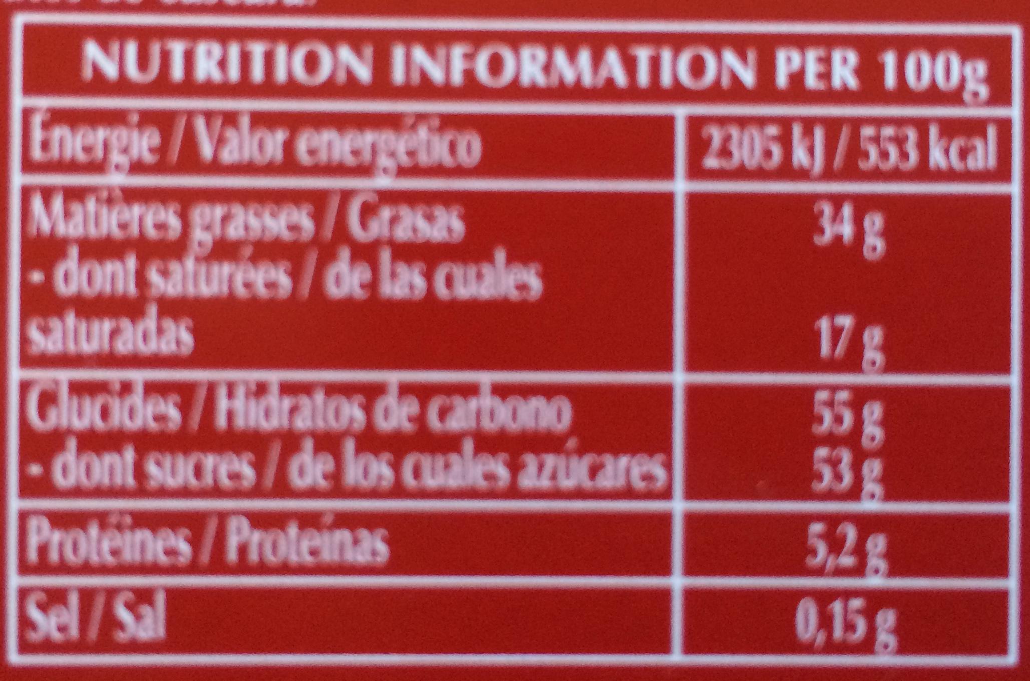 Lindt Champs-Élysées Lait - Nutrition facts - fr