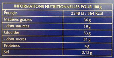 Assortiment chocolats Champs-Elysées - Informations nutritionnelles - fr