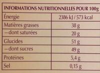 Champs-Élysées Édition Limitée - Voedingswaarden