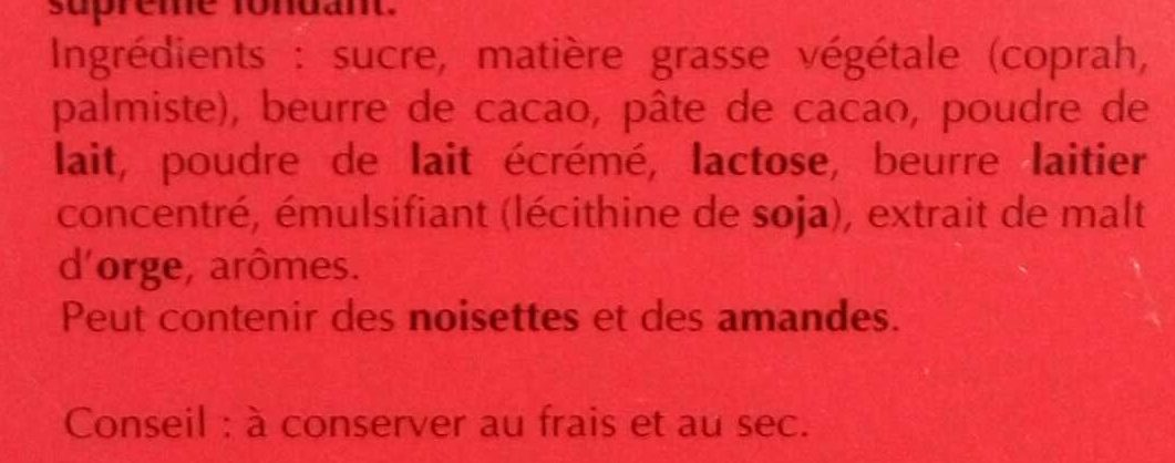 Lindor Lait - Ingrédients - fr