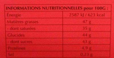 Lindor Lait - Informations nutritionnelles - fr