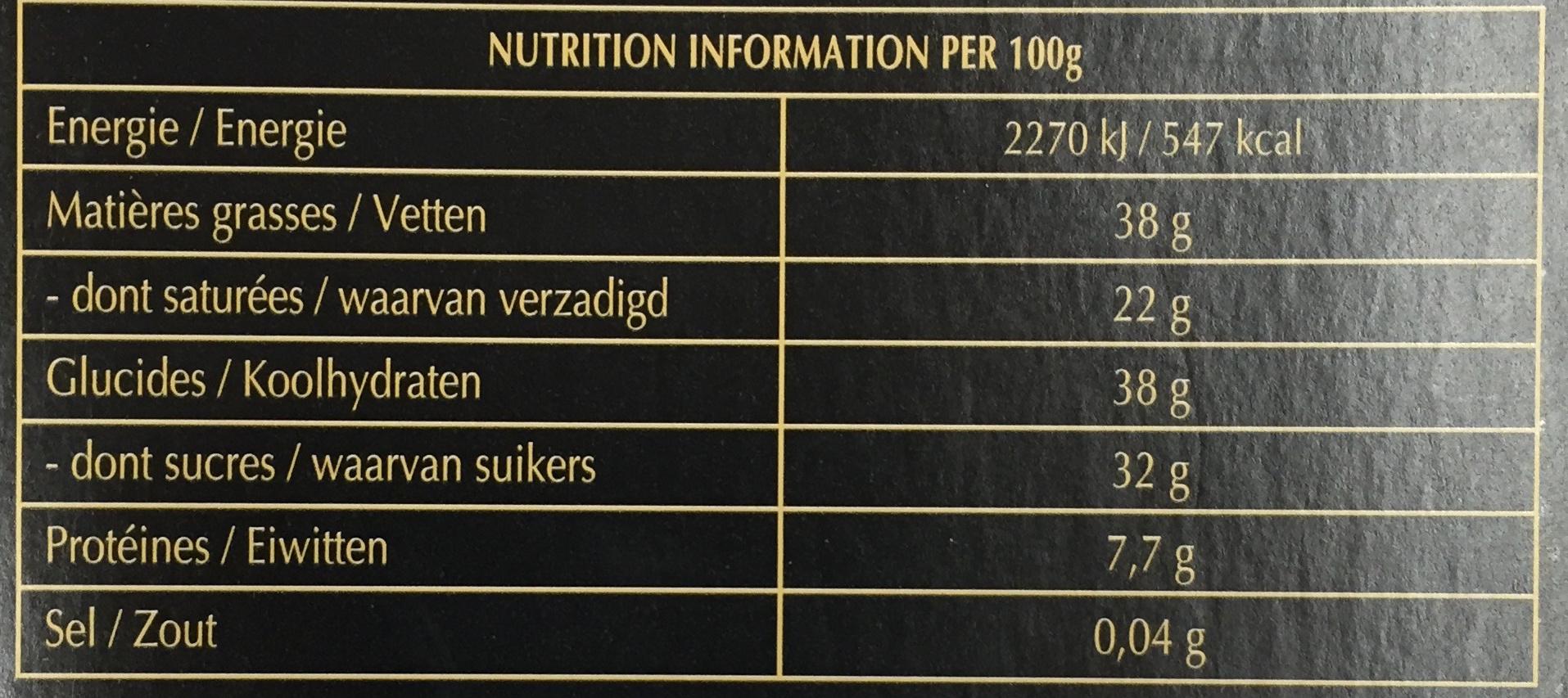 Creation Coulis de Chocolat - Informations nutritionnelles - fr